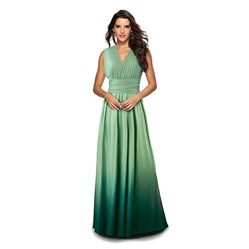 Women Evening Long Maxi Gradient Ombre Dress Convertible Multi-Way Wrap Floor Boho High Elasticity Wedding Party Gown Green XL (Dress Wedding Fantasy)