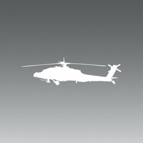 (2x) AH-64 Apache - White - Decal - Die Cut - - Decal Helicopter Apache