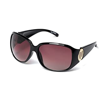 e39a246b26ce MUK Women's Ditto Sunglasses Black Frame with Brown Lens MUK097715 One Size