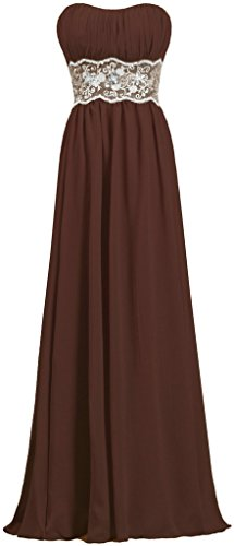 Dresses Evening Strapless Long Gown Brown Women's Prom Lace Chiffon ANTS HB1qW
