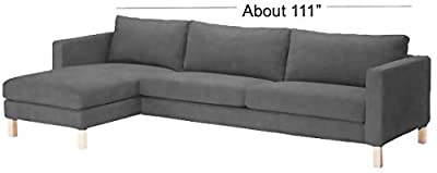 Dense Cotton Karlstad Three Seat Sofa and Chaise Lounge Cover Replacement. Ikea Karlstad Slipcover