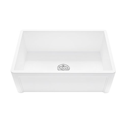 VIGO VGRA3018SL_PARENT VGRA3618SL Casement Front Matte Stone Farmhouse Kitchen Sink, 36'', Matte White by Vigo