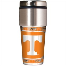(NCAA Tennessee Volunteers 16 oz Travel Tumbler with Metallic Wrap)