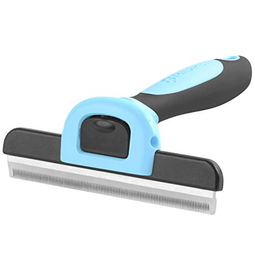 MIU COLOR Pet Deshedding Brush, Professional Grooming Tool, Effectively Reduces Shedding by Up to 95% for Short Hair and Long Hair Dogs Cats(Blue)