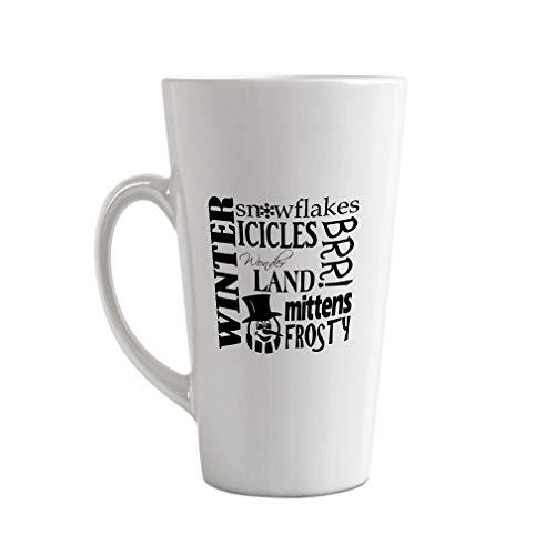 Style In Print Black Winter Snowflakes Icicles Wonder Land Mittens Frosty Ceramic Latte Mug - 17 OZ
