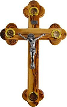 Medium Olive Wood Cross Crucifix with Holy Essences