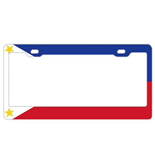 EXMENI Sun And Stars Flag Of The Philippines License Plate Frame Theft-proof Frames Stainless Steel Board Frames
