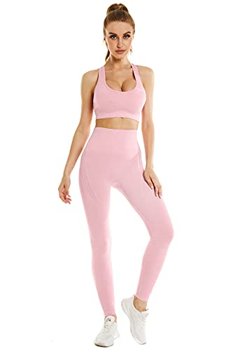 Modstreets Yoga Workout Outfits for Women 2 Piece Set Seamless High-waisted Leggings and Padded Sports Top Bra…