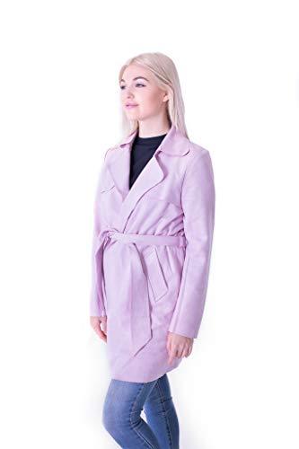 Solitaire Faux Suede Trench Coat Jacket (x-Large, Lavender) ()