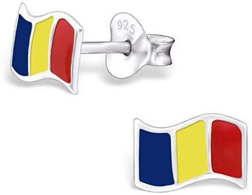 Pendientes en plata de ley 925 con sello de bandera de Rumania, Lovely caja de regalo y bolsa incluida: Amazon.es: Joyería