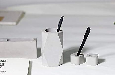 Cemento Disegno Accessori per bagno ufficio Design Industriali anaan geometrico Porta Spazzolino da Denti//Portapenne//Porta pennelli trucco in Calcestruzzo Set di 2, angolo tondo, bianco e grigio