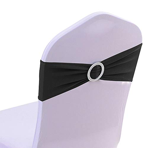 (50PCS Spandex Chair Sashes Bows Elastic Chair Bands with Buckle Slider Sashes Bows for Wedding Decorations (Black))