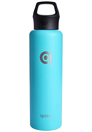 qottle 24oz Stainless Steel Water Bottle - Double Wall Vacuum Insulated Travel Flask for Hot and Cold for Outdoor Camping Hiking-Tiffany blue