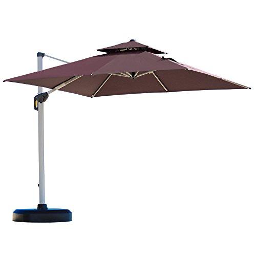 PURPLE LEAF 10 Feet Double Top Deluxe Square Patio Umbrella Offset Hanging Umbrella Outdoor Market Umbrella Garden Umbrella, Brown