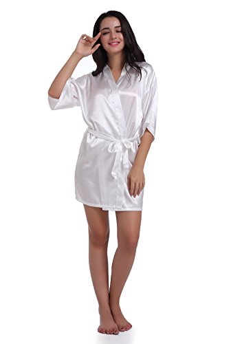 Sleeve Silk Charmeuse Dress - SexyTown Women's Short Satin Lounge Robes Bridesmaids Charmeuse Lingerie Sleepwear(X-Small,White)