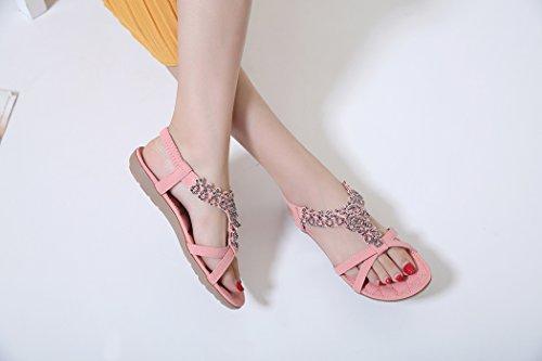 Rosa Flower Bohemian Ladies Shoes Rhinestone Ruiren Flat Sandals Women Summer For wvCZxqB