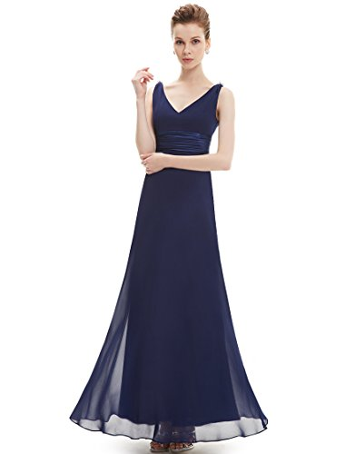 Ever Pretty Womens Empire Waist V Neck Sleeveless Evening Gown 14 US Navy Blue