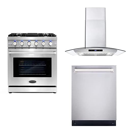 Cosmo Appliance 3PC Package with 30″ COS-EPGR304 Gas Range 30″ COS-668AS750 Wall Mount Range Hood & 24″ COS-DIS6502 Dishwasher