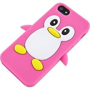 Penguin Cover Case for Apple iPhone 5, Hot Pink