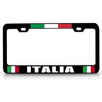 Amazon.com: ITALIA Italian Flag Steel Metal License Plate Frame Ch ...