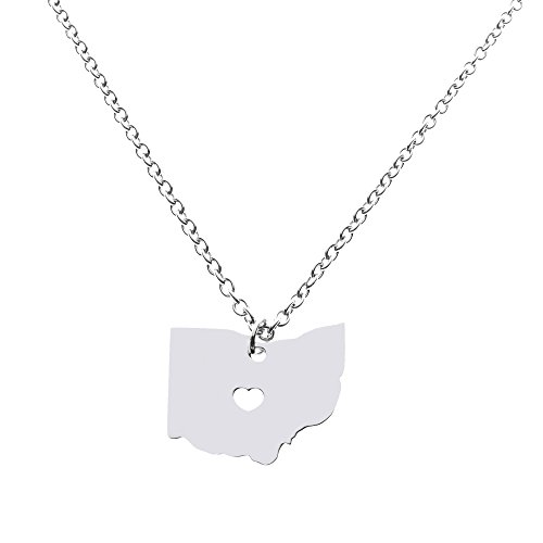 Ohio State Necklace Pendant Country Map OH Pendant Charm Jewelry Gift for Women Teens ()
