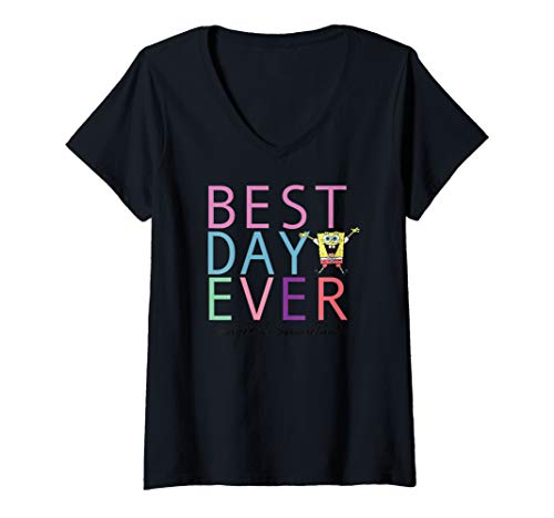 Womens Spongebob Squarepants Best Day Ever  V-Neck T-Shirt (Spongebob Best Day Ever 420)