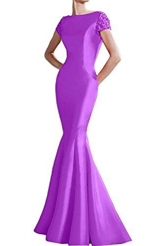 Ballkleid Meerjungfrau Mit Abendkleider Festkleid Rueckenfrei Aermeln Damen Lila Ivydressing 4wY1zx