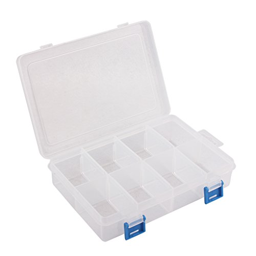 BangQiao Plastic Storage Box with Removable Dividers,8-grids,Clear