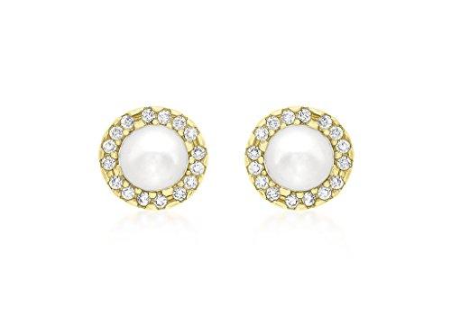 Jewellery World Bague en or jaune 9carats 8mm pierre et perle Boucles d'oreilles clous