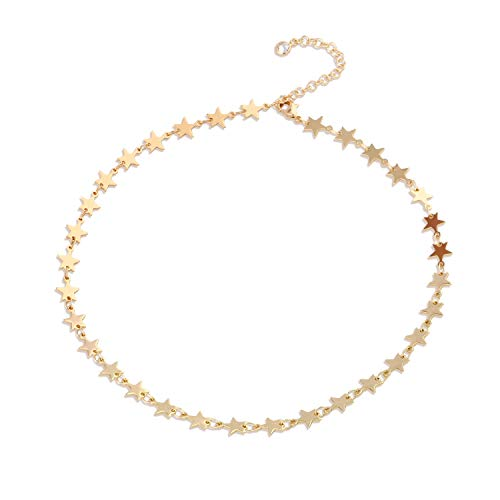 - Mevecco Gold Dainty Star Choker Necklace for Women,14K Gold Plated Cute Tiny Constellation Minimalist Simple Chain Choker Necklace for Women