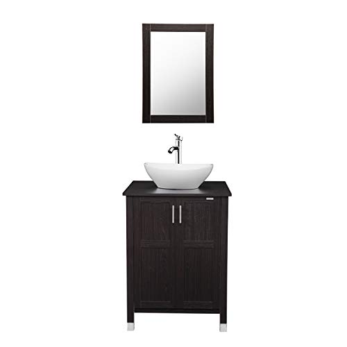 Modern Bathroom Vanity And Sink Combo Stand Cabinet with Vanity Mirror,Single MDF Cabinet