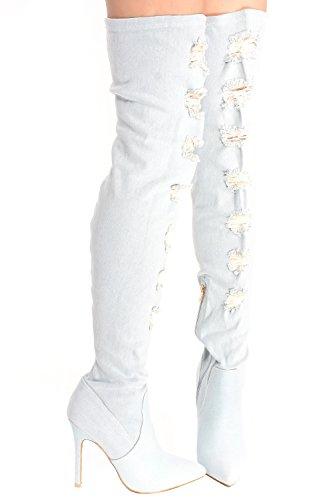 Giovane Ad Alta Voce Pizzo Floreale Design Indietro Cerniera Peep Toe Anteriore Pizzo Sopra La Piattaforma Del Ginocchio Stivali Tacco Alto Lightblue-m33-13