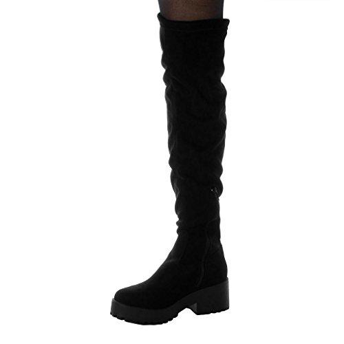 Heel Fashion Black 6 Block Biker Angkorly Thigh High Shoes Boot Cavalier Women's Platform cm 6OwvqH