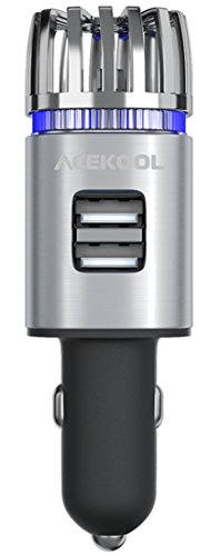 Car Air Purifier,Acekool Car Air Freshener with Dual USB Charging Ports,Ionic Air Purifier Remove Dust,Cigarette Smoke,Bacteria and Bad Odors - Ideal for Auto or RV ()