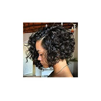 Wigsforyou Short Curly Wave Synthetic Hair Anime Deep Wave Heat Resistant Full Wigs for Black Women