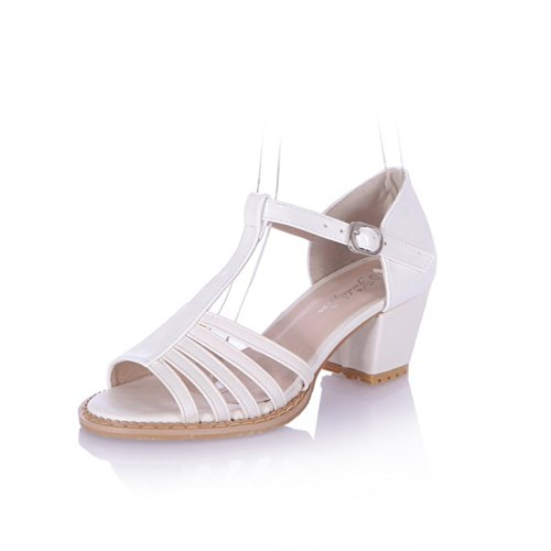 Solidi Fibbia Chunky Morbido 5 Pu Bianco Uk Kitten Heels Toe Con Sandali Materiale Voguezone009 Womens Heel Open gXAOOPzq
