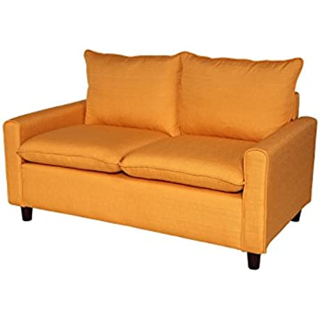 Container Furniture Direct Blaire Collection Modern Contemporary Fabric Upholstered Living Room Loveseat Orange