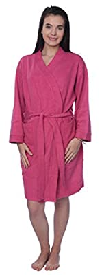 Womens 100% Cotton Plus Size Robe Terry Knitted Cloth Bathrobe
