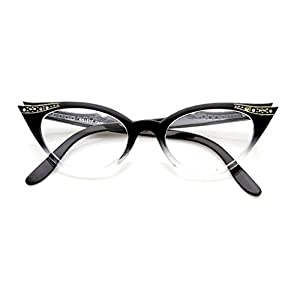 WebDeals - Cateye or High Pointed Eyeglasses or Sunglasses Vintage Inspired Fashion (Black Fade Frame Clear)
