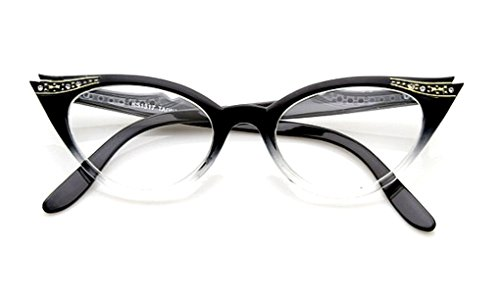 WebDeals - Cateye or High Pointed Eyeglasses or Sunglasses Vintage Inspired Fashion (Black Fade Frame - Vintage Inspired Glasses