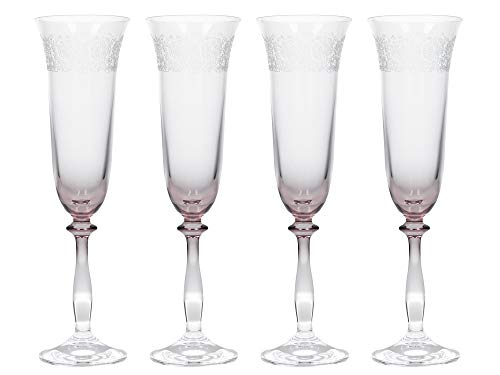 Katie Alice The Collection Etched Champagne Fluted Glasses, Glass, 190 ml, Set of 4 ()