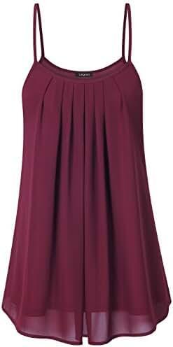Laksmi Women's Pleated Chiffon Layered Cami Front Pleat Cool Short Tank Tunic Dress