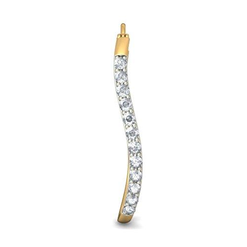 14K Or jaune 0.77CT TW White-diamond (IJ | SI) Boucles d'oreilles créoles
