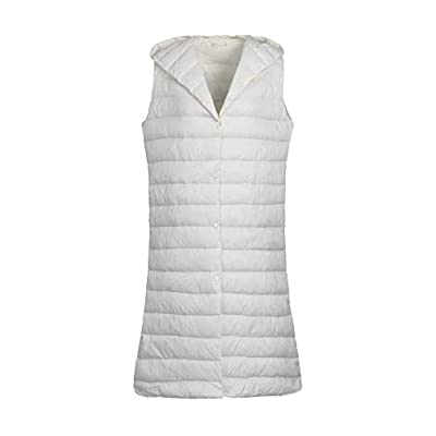 ELFJOY Women's Hooded Light Long Down Vest Packable Down Vest: Clothing