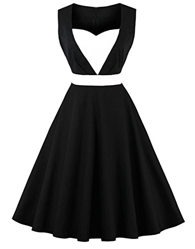 Killreal Women's Sleeveless Sweetheart Retro Tea Party Vintage 1950s Style Dress Black Medium