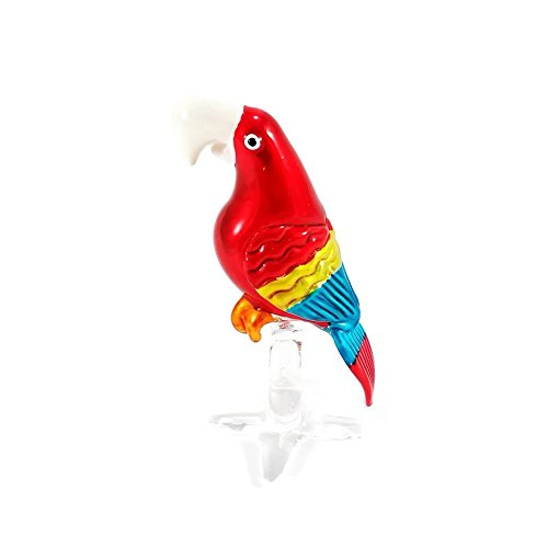 Dinso Glass Blown Ornaments Animals Birds Macaw Parrots Figurine Red Green Blue Home Decore (Red) Ml Bubble Wand