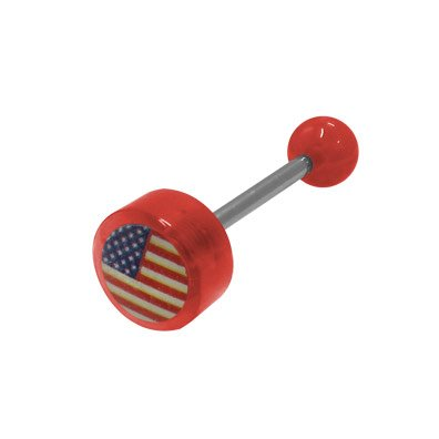 (BodyJewelryOnline USA Flag Logo Barbell Tongue Ring)