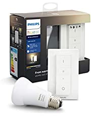 Philips Hue White Ambiance Wireless Dimmer Kit: Smart Bulb LED Kit [E27 Edison Screw] with Bluetooth Includes, Dimmer Switch (Works with Alexa and Google Assistant)