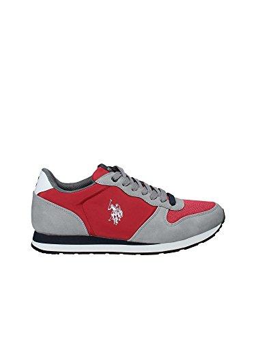 Scarpe Uomo US Polo Sneaker Running Sheridan Club ECOSUEDE/Tessuto Grey/Red US18UP25