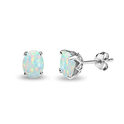 Sterling Silver Simulated White Opal and Topaz Oval Crown Stud ()